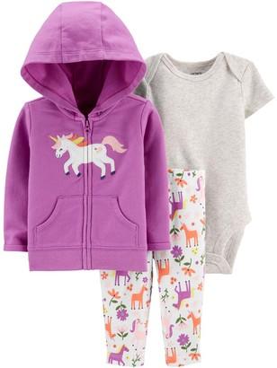 Carter's Girls' Infant Bodysuits Purple - Purple Unicorn Zip-Up Hoodie Set - Newborn & Infant