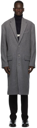 Balenciaga Grey Wool Boxy Coat