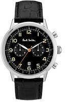 paul smith watches for men shopstyle uk paul smith men s quartz watch black dial chronograph display and black leather strap p10011