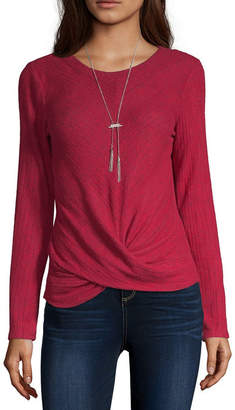 Byer California Womens Round Neck Long Sleeve Pullover Sweater - Juniors
