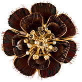 Chanel Flower Peacock Feather Brooch w/ Tags
