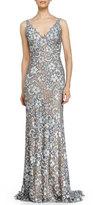 Jovani Open-Back Sleeveless Beaded Lace Fishtail Gown
