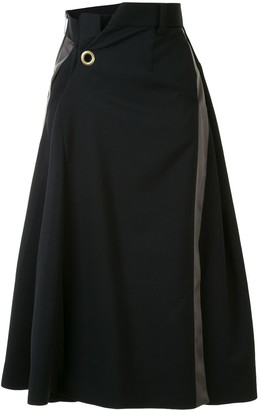 Sacai Front Pleat Detail Contrast Panel Skirt