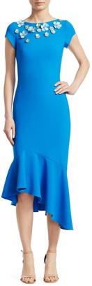 Theia Embellished Cap-Sleeve Dress