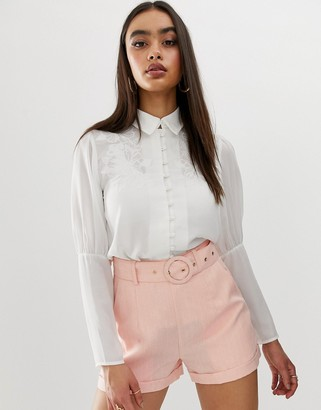 Fashion Union embroidered button front blouse with balloon sleeves