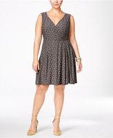 Love Squared Trendy Plus Size Geo-Print Fit & Flare Dress