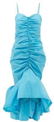 ATTICO The Ruched Satin Midi Dress - Womens - Turquoise