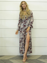 West Coast Wardrobe Kacey Floral Maxi Dress in Burgundy Floral
