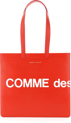 Comme des Garcons Leather Tote Bag With Logo