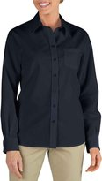 Dickies FL136 Womens Long Sleeve Stretch Poplin Shirt, XXX-Large