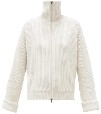 Brunello Cucinelli Zipped Ribbed Cashmere Cardigan - Ivory