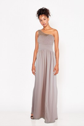 Little Mistress Bridesmaid Luanna Blush Embellished One-Shoulder Maxi Dress