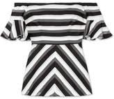 Lela Rose Off-the-shoulder Striped Cotton And Silk-blend Top
