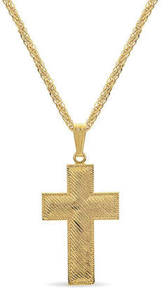 Silver Cross Made in Italy Mens 18K Gold Over Silver Sterling Pendant Necklace Family