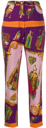 Versace Pre-Owned 1990s religion print cropped trousers