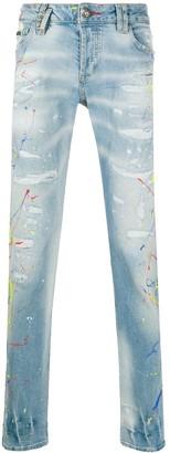 Philipp Plein Paint Splatter Straight Jeans