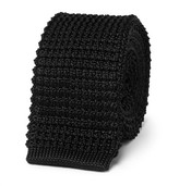 Lanvin 5cm Grosgrain-trimmed Knitted Silk Tie - Black