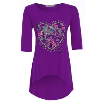 Fashion Star Be Jealous Women's Short Sleeves Floral Heart Print Dipped Hem Hi Low Tunic Top S/M (US 4/6) Purple
