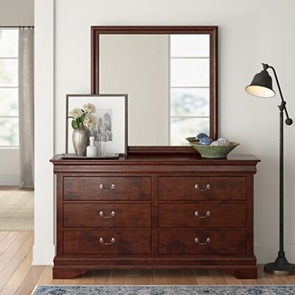 Three Posts Sedgefield 6 Drawer Double Dresser With Mirror Color Natural Shopstyle