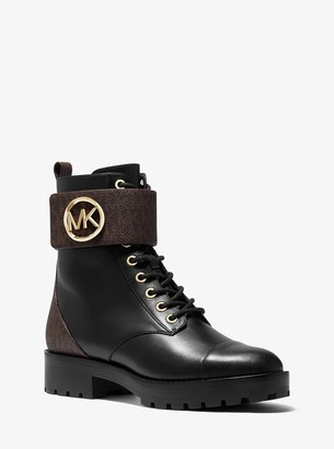 MICHAEL Michael Kors Tatum Leather and Logo Combat Boot