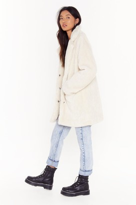 Nasty Gal Womens Are You Fur Real Faux Fur Coat - white - L