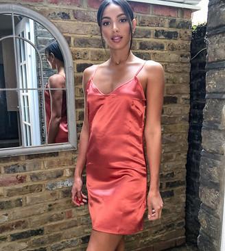 Parisian Tall satin cami slip dresss in teracotta