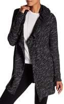 Blanc Noir Hooded Tweed Drape Cardigan