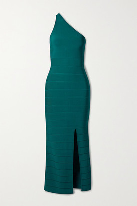 Herve Leger Icon One-shoulder Bandage Midi Dress - Teal