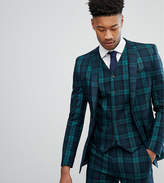 Asos Tall Super Skinny Suit Jacket In Blackwatch Tartan