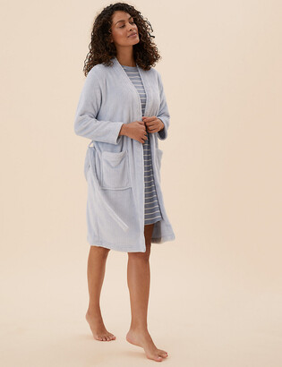 Marks and Spencer Fleece Ribbed Dressing Gown