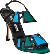 Manolo Blahnik Chamba Colorblock 105 Leather & Suede Sandal