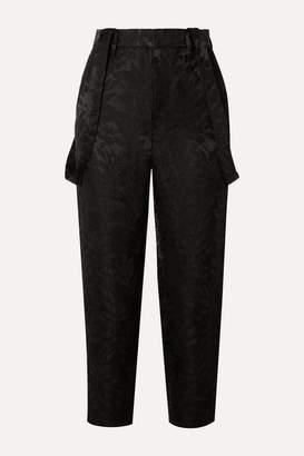 Noir Kei Ninomiya Cropped Satin-jacquard Tapered Pants - Black
