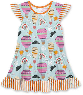 Penelope Plumm Girls' Casual Dresses - Light Blue & Pink Stripe Balloons Ruffle-Hem Angel-Sleeve Dress - Toddler & Girls
