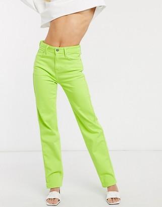 Pepe Jeans Dua Lipa x high rise straight leg jean in neon green