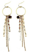 Women's Twelve® Circle Fishhook Earring with Tiger Eye Bead and Beaded Chain Dangle - Gold/Peach