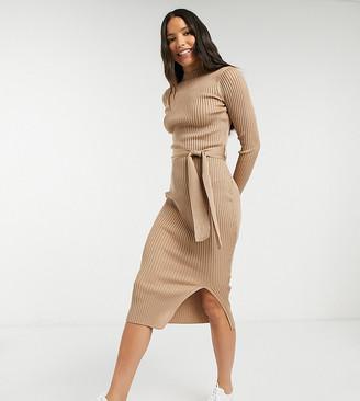 New Look Tall tie-waist rib midi dress in camel