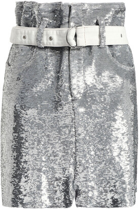 IRO Belted Sequined Stretch-knit Mini Skirt