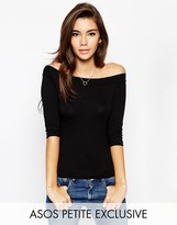 Asos Top With Bardot Neck And 3/4 Sleeves