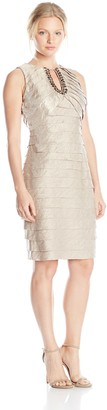 London Times Women's Petite Sleeveless Jewel Keyhole Shimmer Shutter Dress