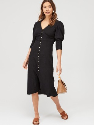 Very Linen V-Neck Button Through Midi Dress - Black