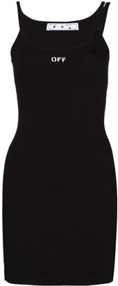 Off-White Logo Print Sleeveless Mini Dress