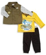 Nannette Baby Boy's Three-Piece Cotton Top, Button-Down & Pants Set