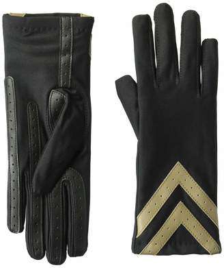 Isotoner Women's Spandex Touchscreen Cold Weather Gloves with Warm Fleece Lining and Chevron Details