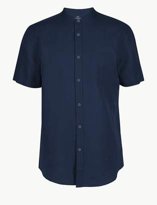 M&S CollectionMarks and Spencer Linen Rich Grandad Shirt with Pocket