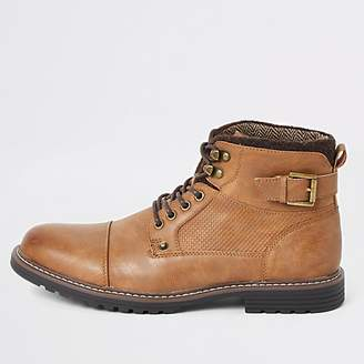 River Island Light brown lace-up buckle military boots