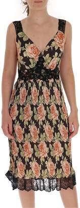 Paco Rabanne Floral Printed Lace Trim Pleated Dress