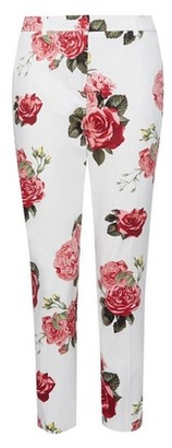 Dorothy Perkins Womens Ivory Rose Print Ankle Grazer Trousers