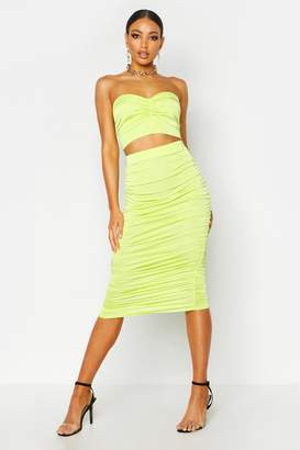 boohoo Ruched Slinky Midi Skirt