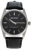 Zadig & Voltaire ZVF234 Fusion - Silver/ Black Leather Strap Watch 1 Pc Watches