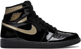 Jordan Nike 1 High Black Metallic Gold Sneakers Size EU 41 US 8